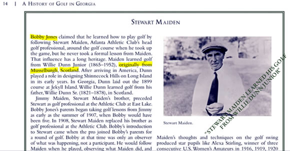 Stewart Maiden learned his golf from Willie Dunn Junior