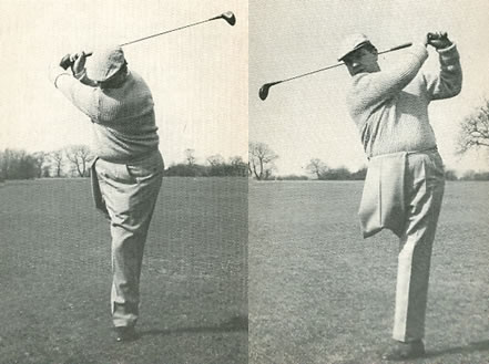 Geoff Paine Playing off one leg and a Five Handicap By Bill Cox Improve Your Golf a Penguin Handbook Plate 67 and 68 page 130 First Published 1963 Copyright Bill Cox