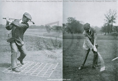 J H Taylor Top of Swing Drive Impact With Iron Club Ball Starting 1904