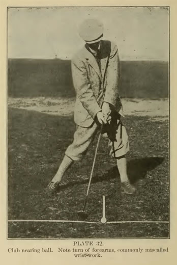 PLATE 32. Club nearing ball. Note turn of forearms, commonly miscalled wrist-work by P. A. Vaile 1915