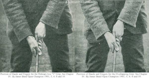 "Positions of the Hands and Fingers for the Ordinary two ""V"" grip and Overlapping Grip By James Braid c1912"