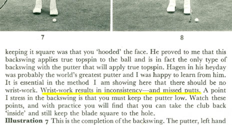 Wrist-work results in inconsistency - and missed putts Bobby Locke on Golf 1953